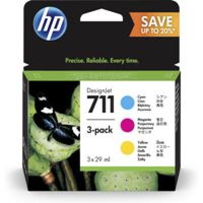 HP 711 3-pack 29-ml Cyan/Magenta/Yellow Ink Cartridges